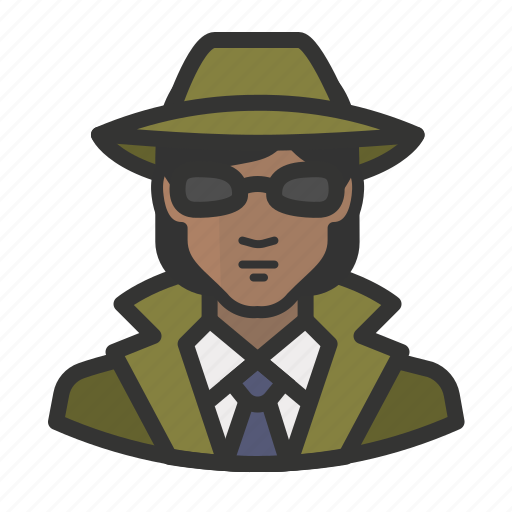 african, avatar, detective, female, girl, glasses, woman icon