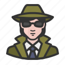 avatar, detective, female, girl, private eye, white, woman icon