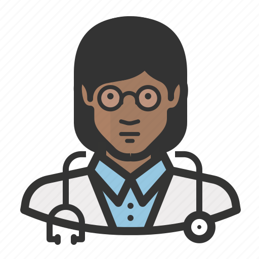 african, avatar, doctor, female, girl, healthcare, medicine, woman icon