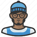 african, beanie, hipster, man, beard, glasses icon