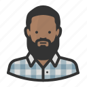african, avatar, beard, flannel, hipster icon