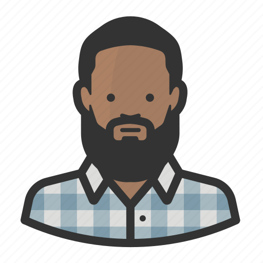 African, hipster, avatar, beard, flannel icon