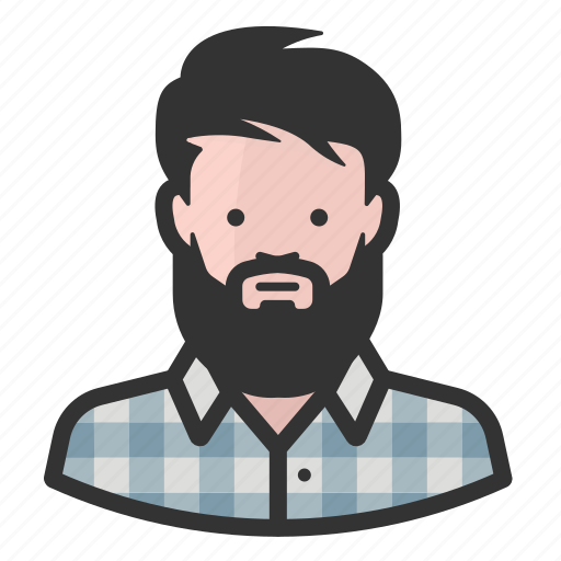 Beard, hipster, man, flannel icon