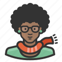 african, female, girl, glasses, hipster, woman icon