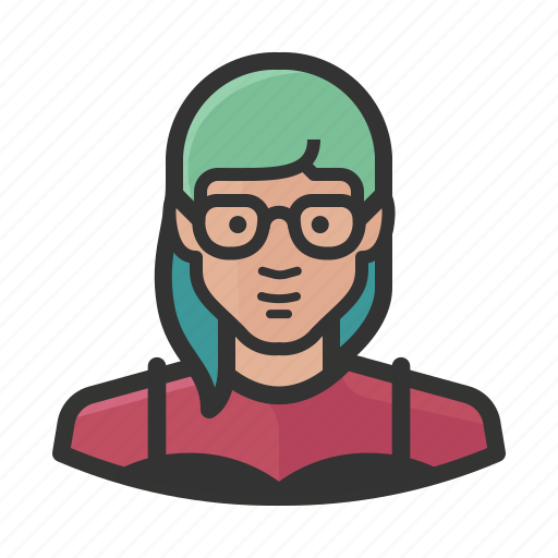 asian, female, girl, glasses, hipster, woman icon