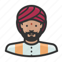 avatar, indian, man, turban, hindu icon
