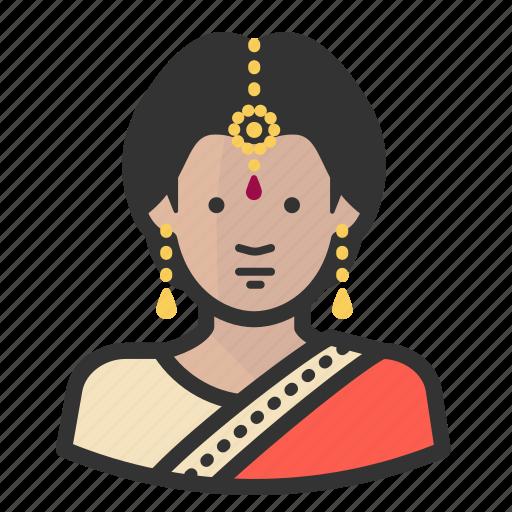 female, girl, hindu, indian, saree, woman icon