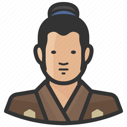 Traditional, japanese, avatar, man icon