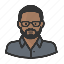 african, beard, glasses, man, person, face, avatar, people