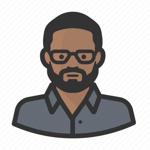 african, avatar, beard, face, glasses, man, people, person icon