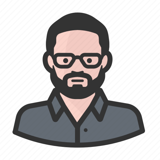 avatar, beard, face, glasses, man, people, person icon