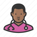 african, avatar, healthcare, male, medicine, nurse icon