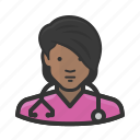 african, avatar, female, girl, healthcare, medicine, nurse, woman icon