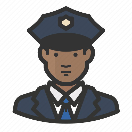african, avatar, cop, law enforcement, man, police icon
