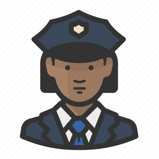 african, avatar, cop, female, girl, law enforcement, police, woman icon