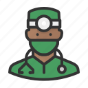 african, avatar, healthcare, man, medicine, surgeon icon
