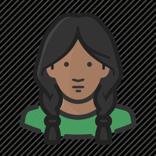 african, avatar, braids, female, girl, woman icon