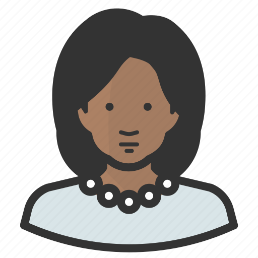 african, avatar, female, girl, oprah, pearls, woman icon
