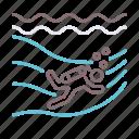 dive, diving, drift icon