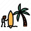 beach, surfboard icon