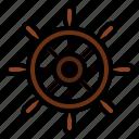ship, steering, wheel icon