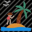 coconut, island, palm icon