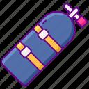 single, tank, diving, oxygen, gear
