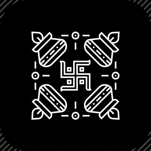 celebration, deepavali, design, diwali, festival, rangloi, swastika icon