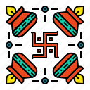 celebration, deepavali, design, diwali, festival, rangoli, swastika icon