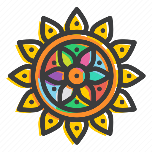 celebrate, decorate, decoration, diwali, hindu, holi, rangoli icon