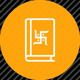book, chopda, diwali, festival, hindu, pujan, swastik icon