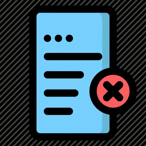 decline, delete, doc, document, file, remove icon