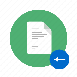 arrow, back, docs, document, left, move, previous icon