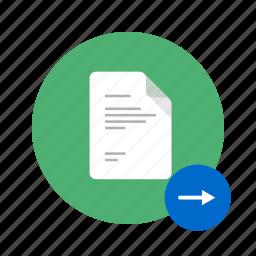 arrow, docs, document, go, move, next, right icon