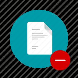 clear, delete, docs, document, minus, remove, stop icon