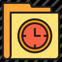 clock, folder, interface, time icon