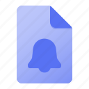 alarm, bell, document, notification, page icon
