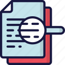 document, documentation, files, magnifying glass, note, search icon