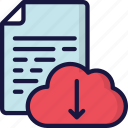 cloud, document, documentation, download, files, icloud, note icon