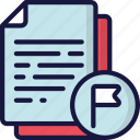 document, documentation, files, flagged, important, note icon
