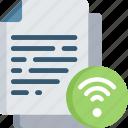 document, documentation, files, internet, note, wifi icon
