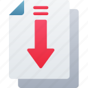 arrow, document, documentation, download, files, note