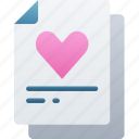document, documentation, files, heart, liked, note