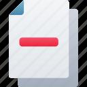 delete, document, documentation, files, minus, note