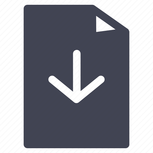arrow, direction, document, down, download, file icon