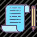document, file, pencil