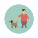 animals, dog, man, pet icon