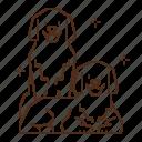 dog, animal, kennel, pet, animel, family, couple icon