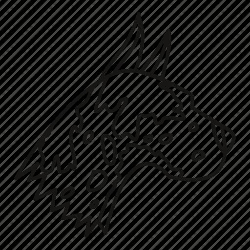 animal, dane, dog, great, line, outline, pet icon