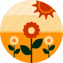 countryside, farm, flowers, good, plant, sun icon